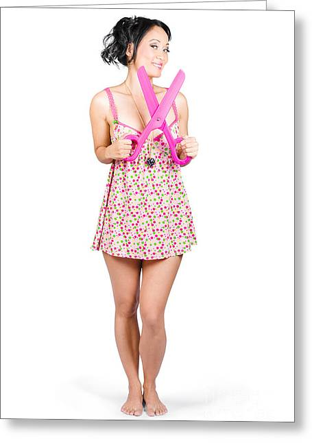 Girl With Large Pair Of Scissors. Cut Price Sale Greeting Card by Jorgo Photography - Wall Art Gallery