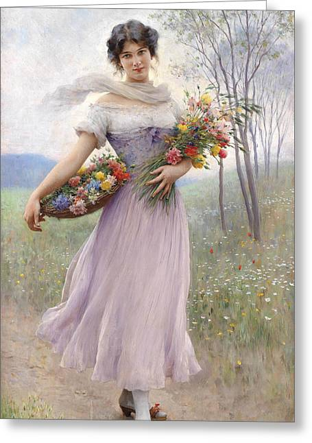 Girl With Lilac Dress Greeting Card