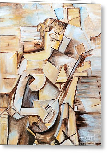 Girl With Mandolin - Tribute To Picasso Greeting Card by Art by Danielle