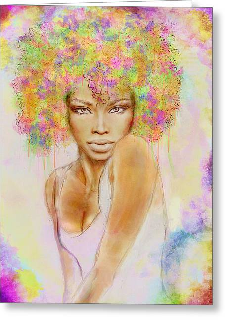 Girl With New Hair Style Greeting Card
