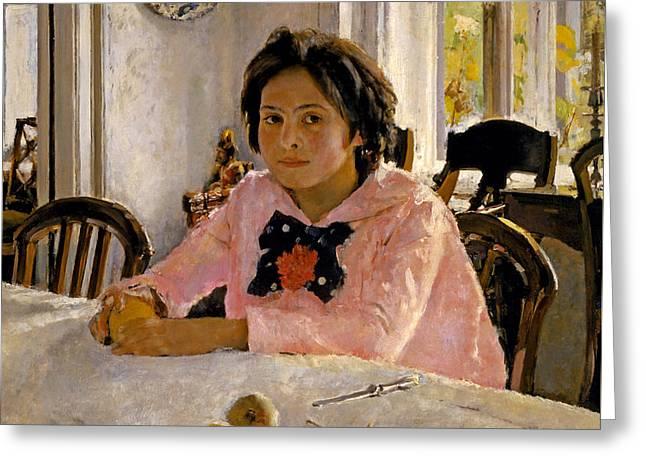 Girl With Peaches. Portrait Of V.s. Mamontova Greeting Card by Valentin Alexandrovich Serov
