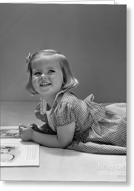 Girl With Picture Book, C.1940s Greeting Card