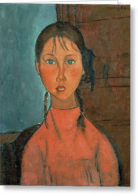 Tails Paintings Greeting Cards - Girl with Pigtails Greeting Card by Amedeo Modigliani