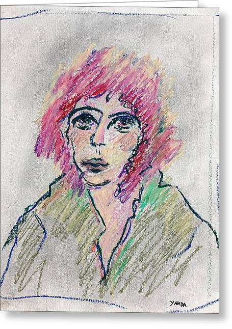 Girl With Pink Hair  Greeting Card