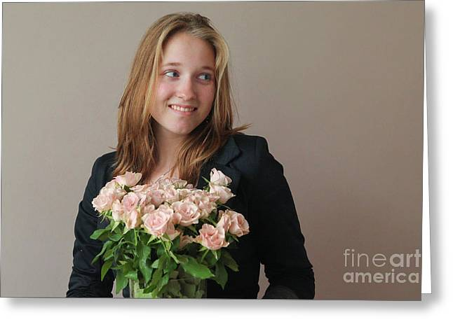 Girl With Pink Roses Greeting Card by Patricia Hofmeester