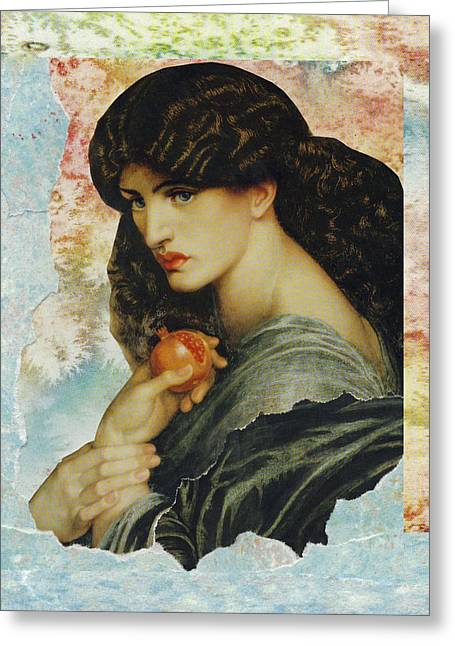 Girl With Pomegranate Greeting Card by John Vincent Palozzi