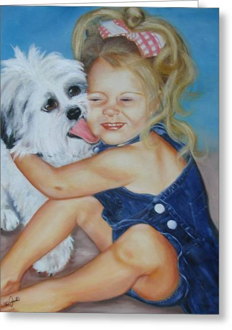 Greeting Card featuring the painting Girl With Puppy by Joni McPherson