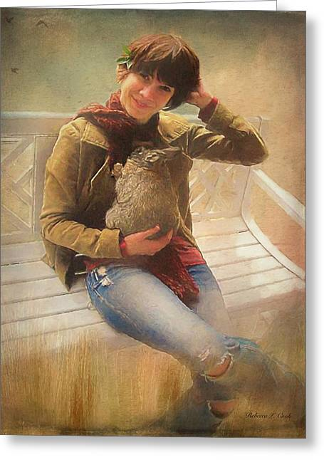Greeting Card featuring the photograph Girl With Rabbit by Bellesouth Studio