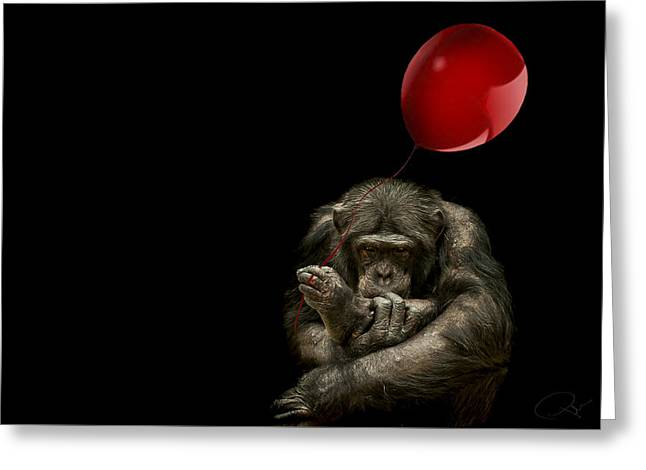 Girl With Red Balloon Greeting Card by Paul Neville