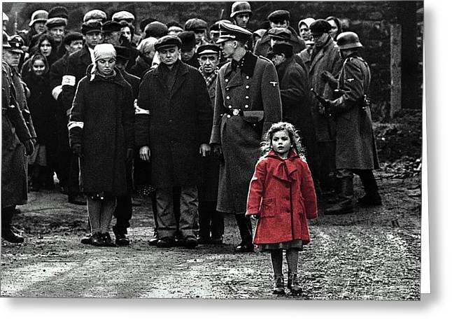 Girl With Red Coat Publicity Photo Schindlers List 1993 Greeting Card