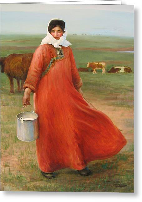 Girl With Red Robe  Greeting Card