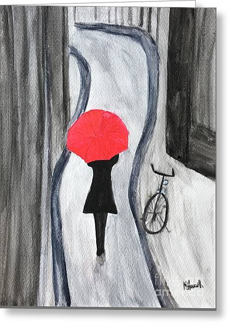 Girl With Red Umbrella Greeting Card by Monika Howarth