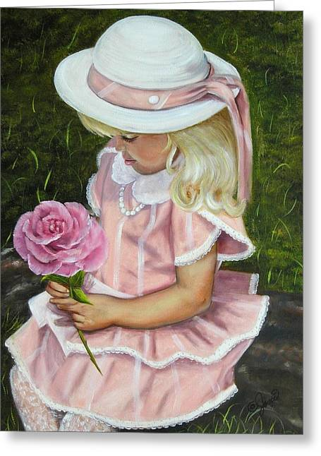 Girl With Rose Greeting Card by Joni McPherson