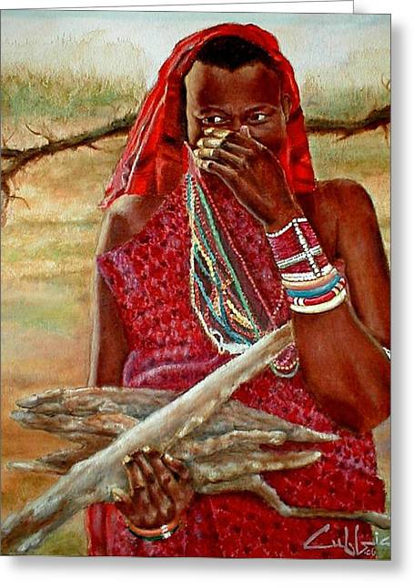 Girl With Sticks Greeting Card by G Cuffia