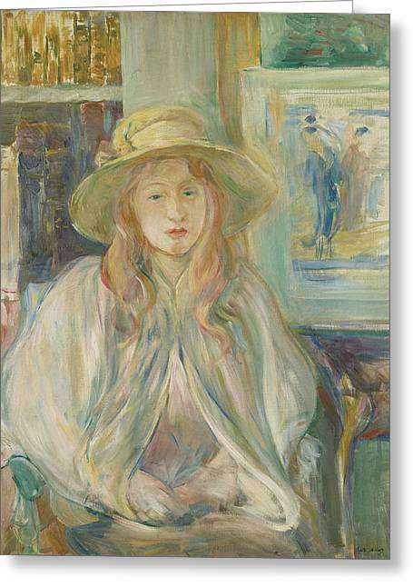 Girl With Straw Hat Greeting Card by Berthe Morisot
