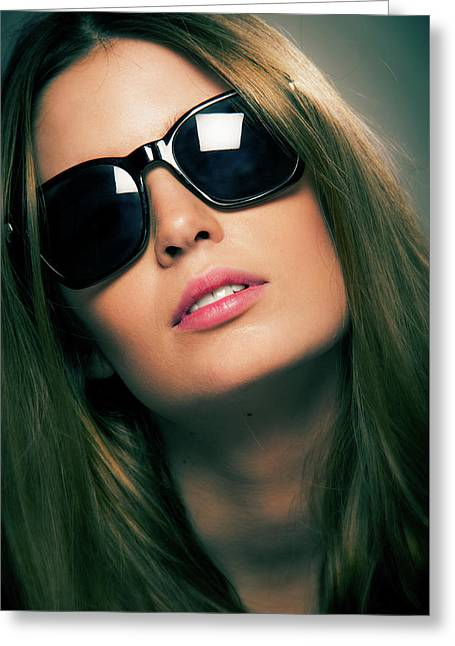 Girl With Sunshades Greeting Card
