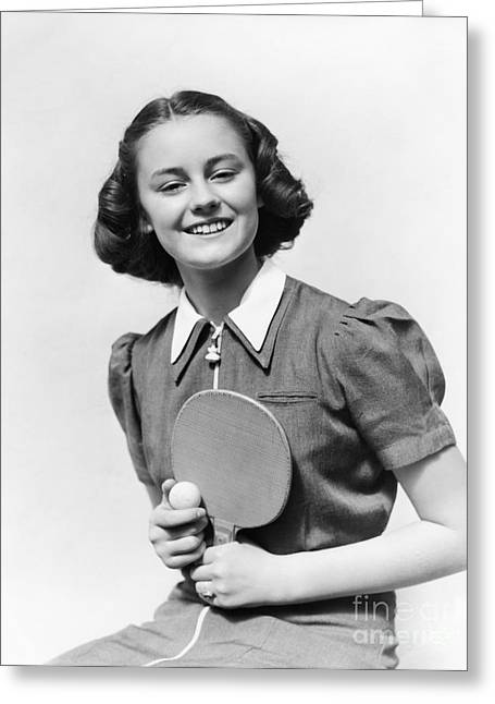 Girl With Table Tennis Paddle And Ball Greeting Card