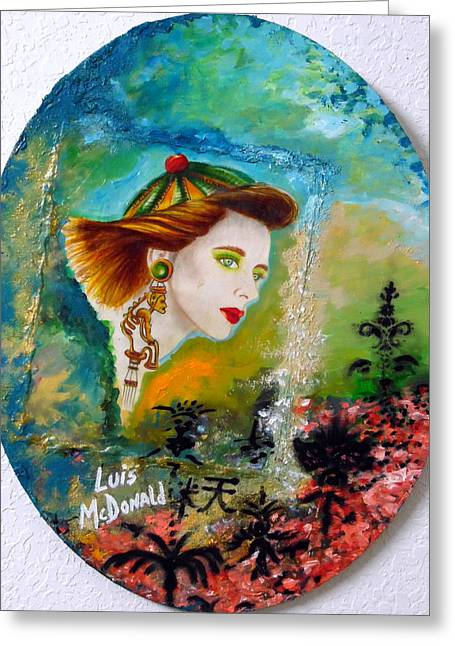 Girl With Taino Earrings I Greeting Card by Luis McDonald
