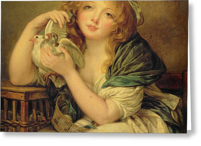 Girl With The Doves Greeting Card