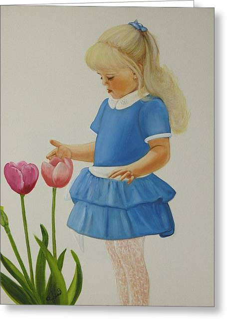 Girl With Tulips Greeting Card by Joni McPherson