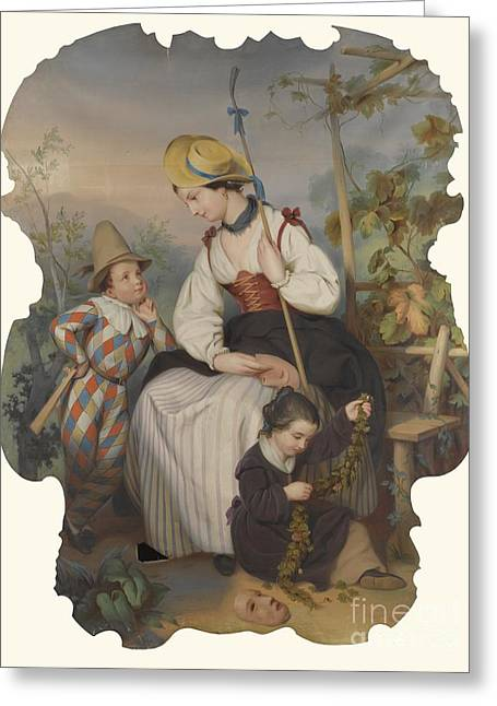 Girl With Two Children Greeting Card by Celestial Images