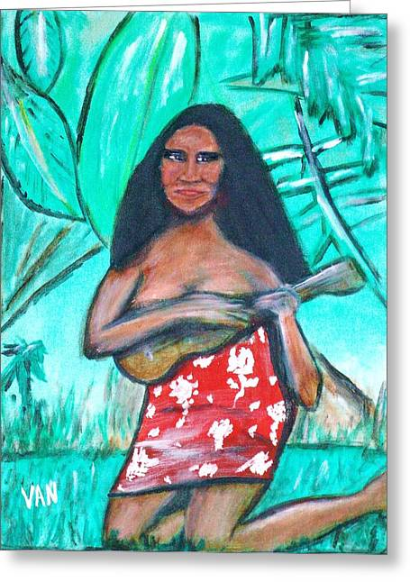 Girl With Ukulele Greeting Card