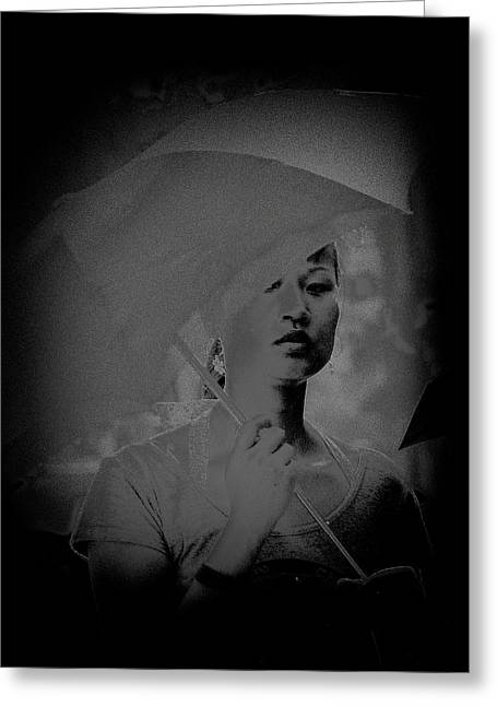 Girl With Umbrella Greeting Card by Patrick Kain