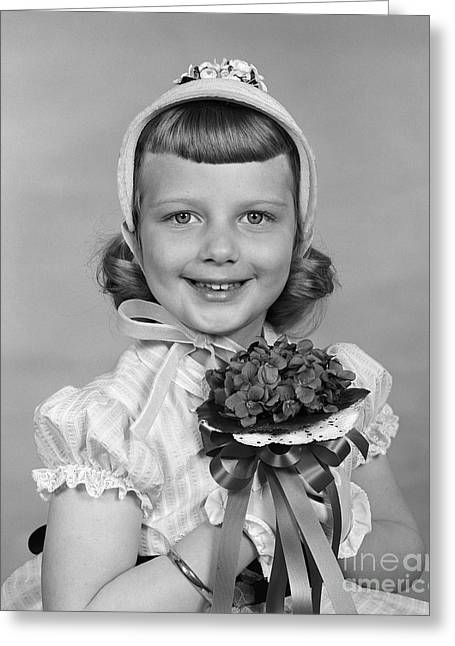 Girl With Violets, C.1950s Greeting Card by H. Armstrong Roberts/ClassicStock