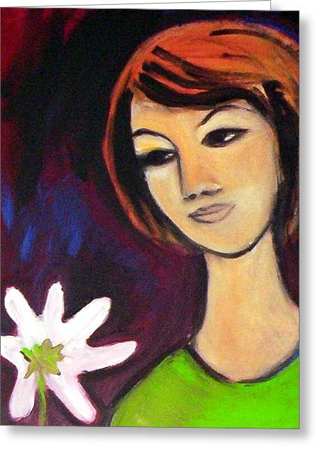 Greeting Card featuring the painting Girl With White Flower by Winsome Gunning