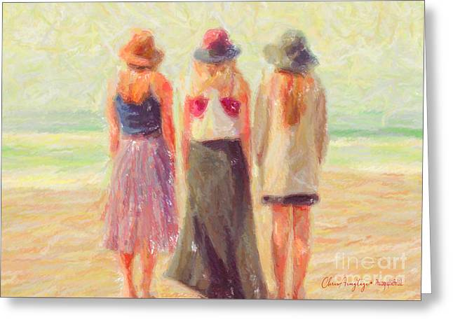 Girlfriends At The Beach Greeting Card