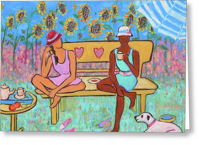 Greeting Card featuring the painting Girlfriends' Teatime IIi by Xueling Zou