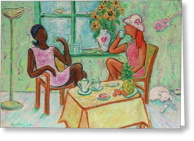 Greeting Card featuring the painting Girlfriends' Teatime V by Xueling Zou