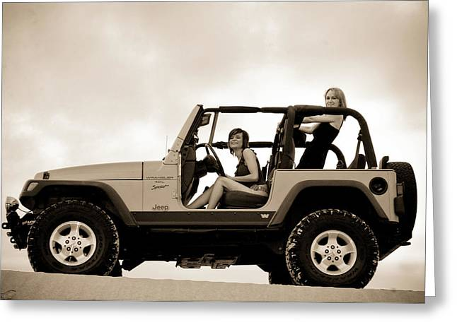 Wrangler Greeting Cards - girls and Jeeps  Greeting Card by Scott Sawyer