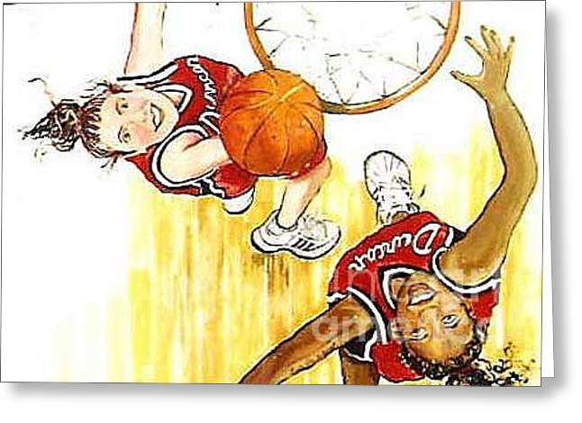 Greeting Card featuring the painting Girl's Basketball by Linda Shackelford