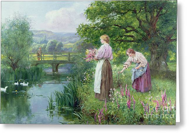 Girls Collecting Flowers Greeting Card by Henry John Yeend King