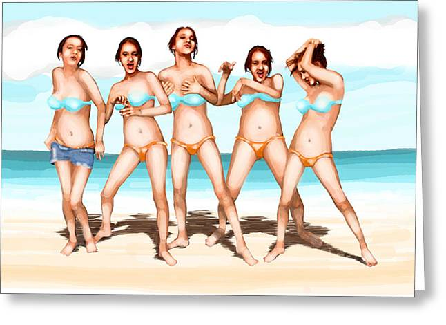 Girls Dancing At The Beach Greeting Card by Leo Malboeuf