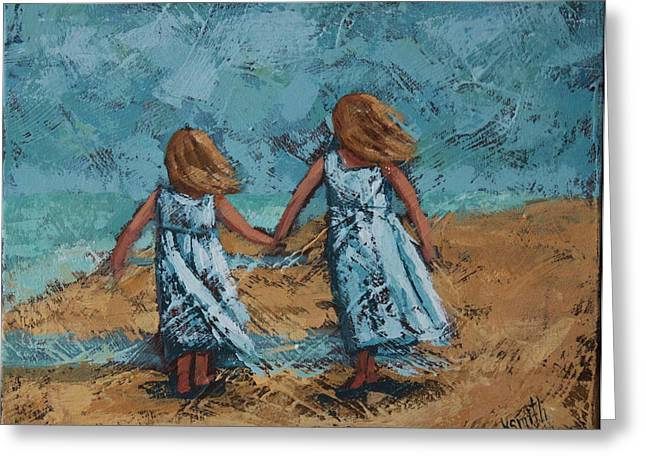 Girls In White Dresses Greeting Card by Karen Smith