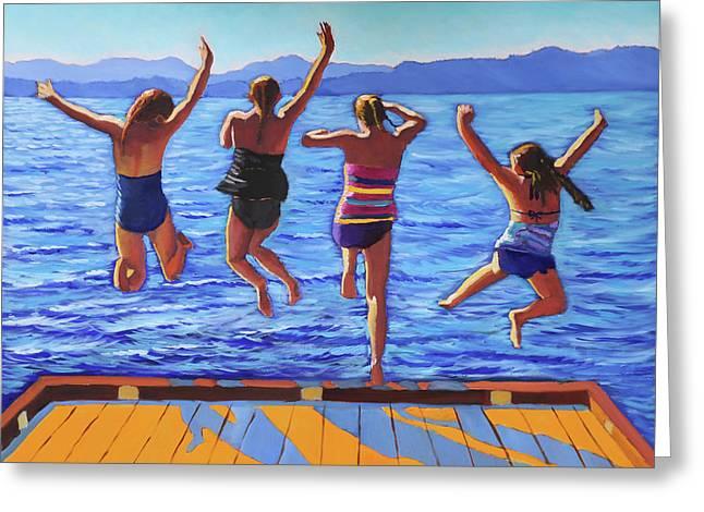 Girls Jumping Greeting Card