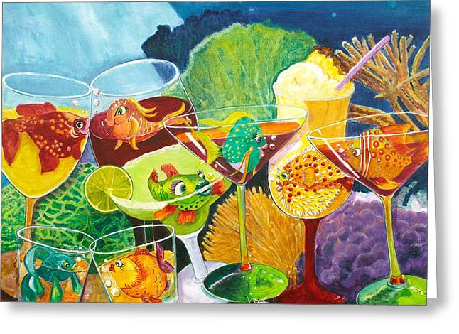 Girls Night Out At The Coral Rock Cafe Greeting Card by Linda Kegley