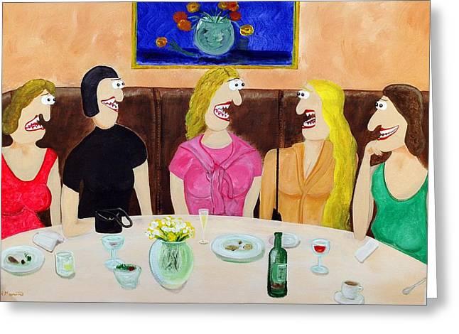 Girls Night Out Greeting Card by Sal Marino
