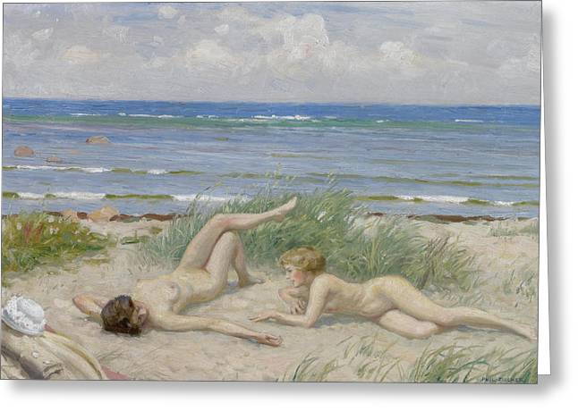 Girls On The Beach At Bastad Greeting Card by Paul Gustav Fischer