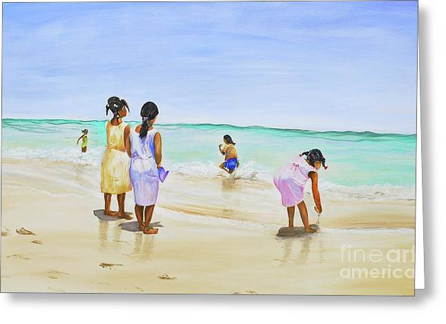 Girls On The Beach Greeting Card