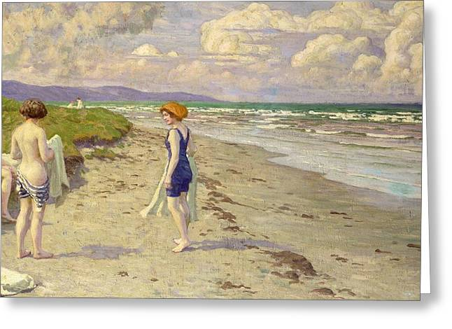 Girls Preparing To Bathe On The Beach Greeting Card by Paul Fischer