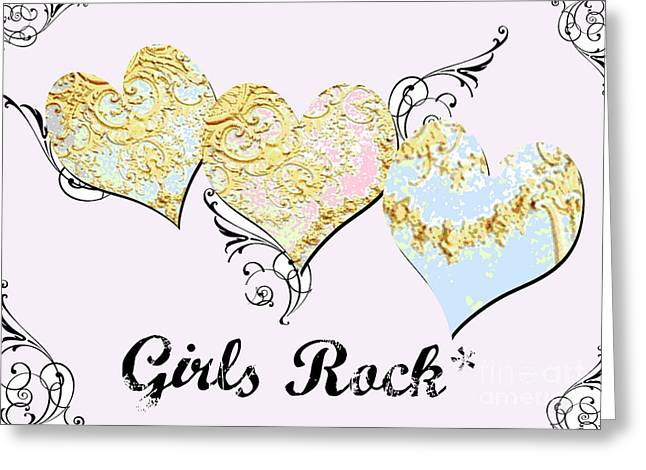 Baby Licensing Greeting Cards - Girls Rock Hearts Greeting Card by Anahi DeCanio