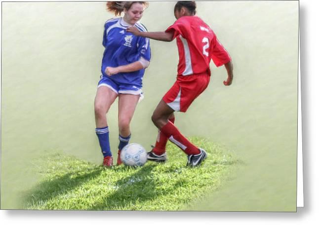 Girls Soccer  Greeting Card by Randy Steele