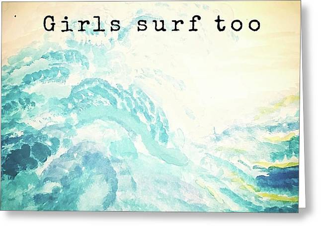Girls Surf Too Watercolor Greeting Card