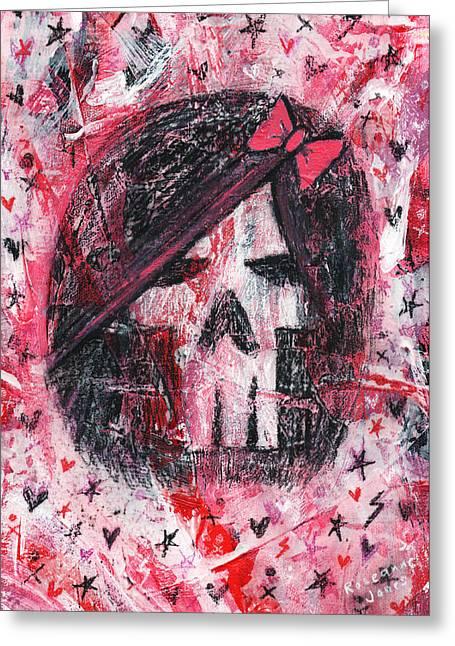 Girly Scene Skull Greeting Card by Roseanne Jones