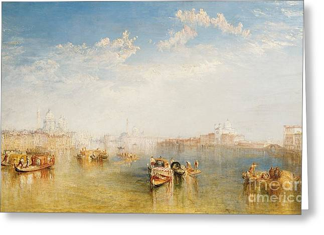 River Boat Greeting Cards - Giudecca La Donna della Salute and San Giorgio  Greeting Card by Joseph Mallord William Turner