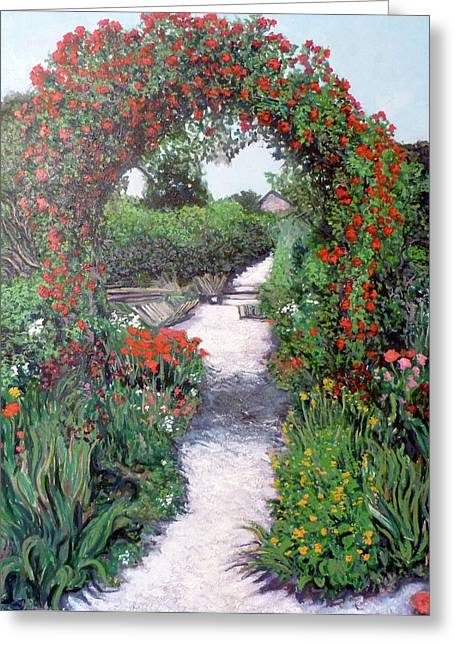 Rosebush Greeting Cards - Giverney Garden Path Greeting Card by Tom Roderick