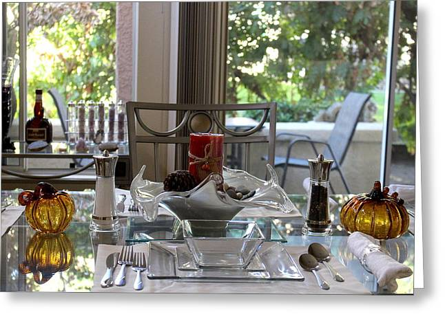 Giving Thanks In California Thanksgiving Table Greeting Card